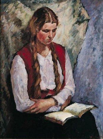 boek, lezen, schilderij, Bertold Piotr Oczko