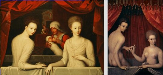 Portret van Gabrielle d'Estrées met een van haar zusters, de hertogin van Villars