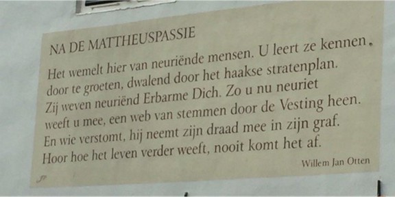 Poëzie, gedicht, Na de Mattheuspassie, Willem Jan Otten, Naarden