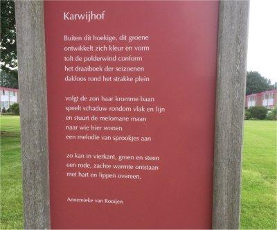 Poëzie, geidcht, Karwijhof, Annemieke van Rooijen, Nagele