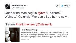 Tweet Meredith Greer met zwartwit-afbeelding gezicht