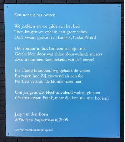 Poëzie, gedicht, Jaap van den Born, Nijmegen, Truus Mastpark