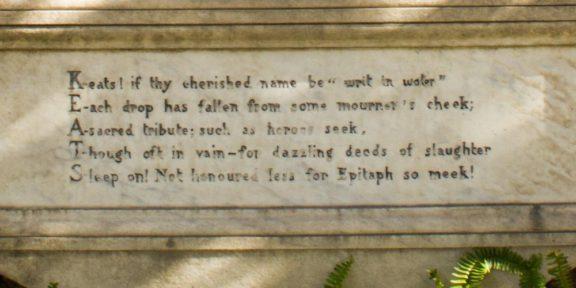 Poëzie, Sir Vincent Eyre, John Keats, Rome