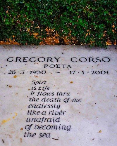 Poëzie, gedicht, Gregory Corso, Rome, graf, Cimitero Acattolico