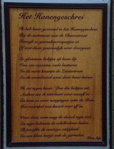 Poëzie, gedicht, Kees Stip, Hanengeschrei, Utrecht
