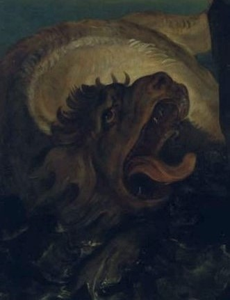 Perseus en Andromeda, Guido Reni, detail, zeemonster