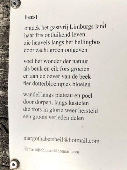 Feest, gedicht van Margot Heil, gevonden net buiten Doenrade