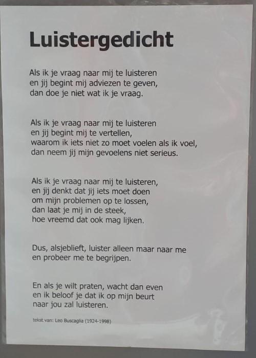 Poëzie, gedicht, Leo Buscaglia, Doesburg