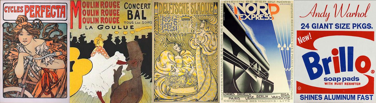 Reclame, kunst, Alphonse Mucha, Henri de Toulouse-Lautrec, Jan Toorop, A.M. Cassandre, Andy Warhol