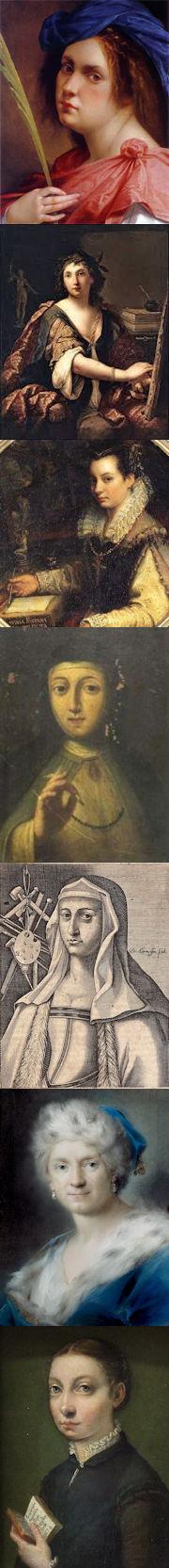 Artemisia Gentileschi, Elisabetta Sirani, Lavinia Fontana, Plautilla Nelli, Properzia de' Rossi, Rosalba Carriera, Sofonisba Anguissola
