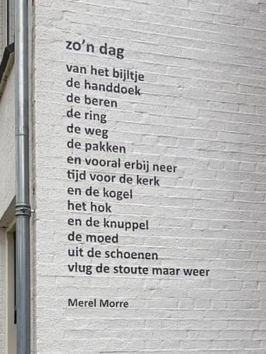 Zo'n dag, gedicht van Merel Morre, gevonden op de Kampweg in Doorn