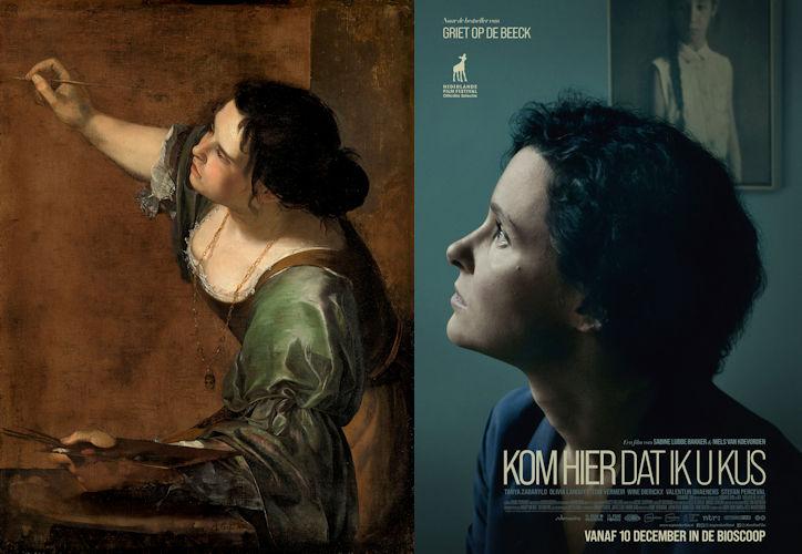 Het zijaanzicht vol in het licht verbindt Artemisia Gentileschi's Zelfportet als de allegorie van de schilderkunst met het filmaffiche van Kom hier dat ik u kus.
