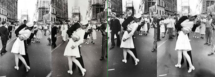 V-J Day in Times Square van Alfred Eisenstadt in vier verschillende versies