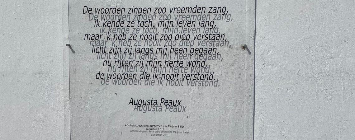 Poëzie, straatpoëzie, gedicht, Augusta Peaux, Simonshaven