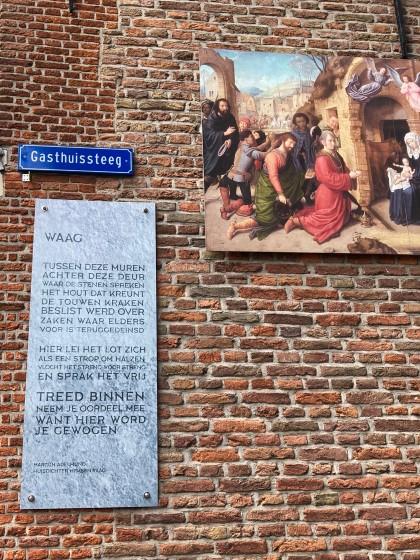 Waag, gedicht van huisdichter Martijn Adelmund, gevonden in de Gasthuissteeg in Oudewater