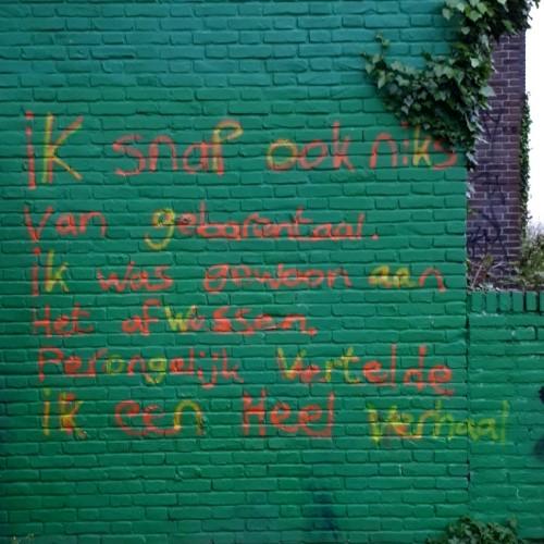 Poëtische tekst over gebarentaal, gevonden in de 3e van Hezewijkstraat in Nijmegen