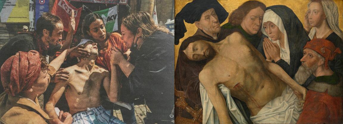 Een nieuwsfoto van Kristof Davino over hingerstakers in een Brusselse kerk doet denken aan een Bewening van Christus door Hugo van der Goes