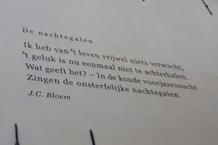 De Nachtegalen, gedicht van J.C. Bloem, gevonden in de Bakkerstraat in Zutphen