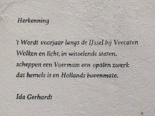 Herkenning, gedicht van Ida Gerhardt, gevonden in de 1e Steeg in Hattem