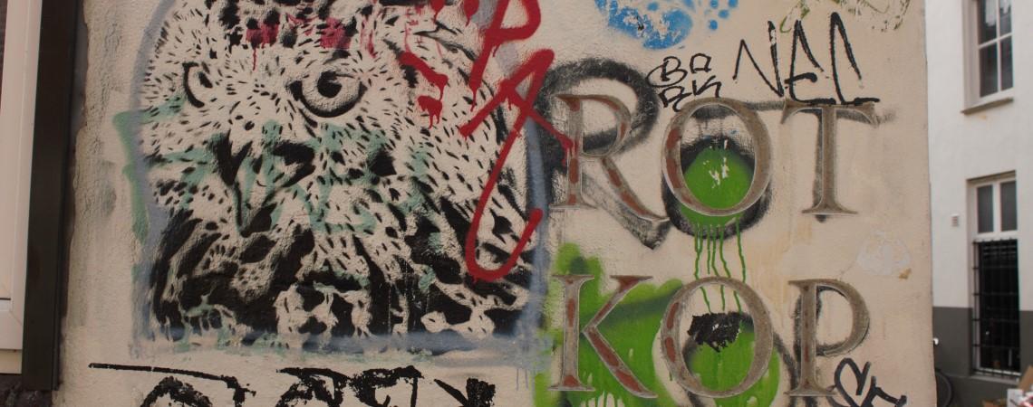 Rotkop, graffiti in Nijmegen van Pink Pony Express in het kader van hun project Spuiten of Hakken
