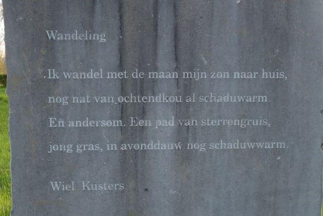 Wandeling, gedicht van Wiel Kusters, gevonden in het Jekerpark in Maastricht