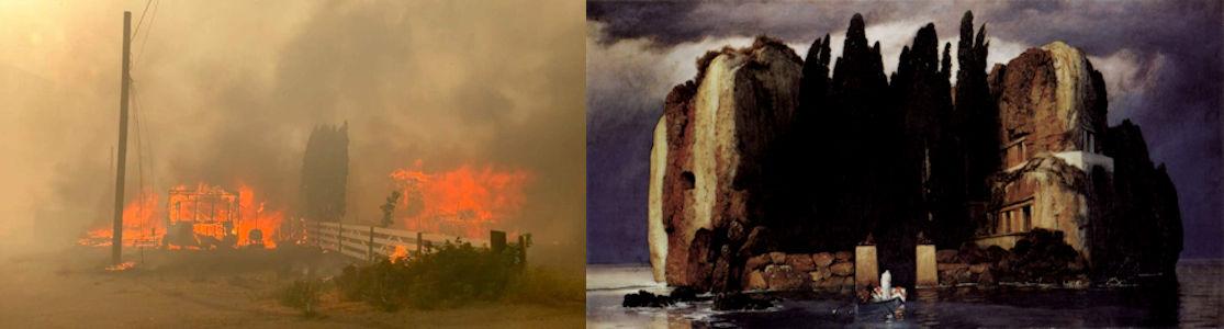 Op een persfoto van de brand in het Canadese Lytton staat een groepje bomen dat herinneringen oproept aan de Toteninsel-schilderijen van Arnold Böcklin.