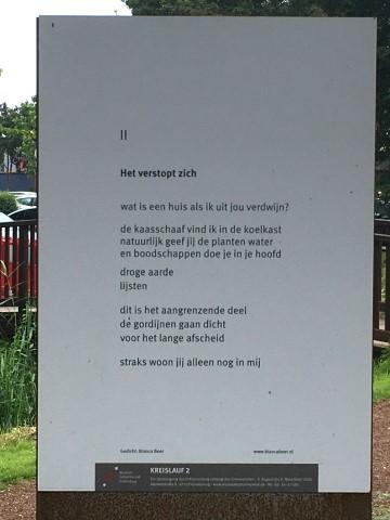Het verstopt zich, gedicht van Bianca Boer, gevonden in Kranenburg