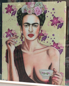 Portret van Frida Kahlo, gebaseerd op een foto van model Olga Kaminska