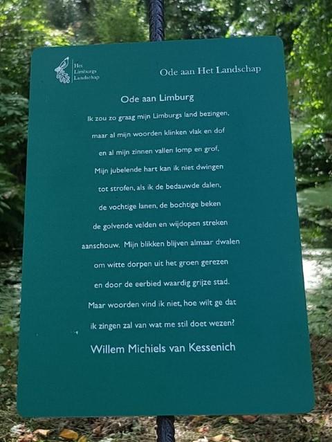 Ode aan Limburg, gedicht van Willem Michiels van Kessenich, gevonden in de kasteeltuin in Arcen