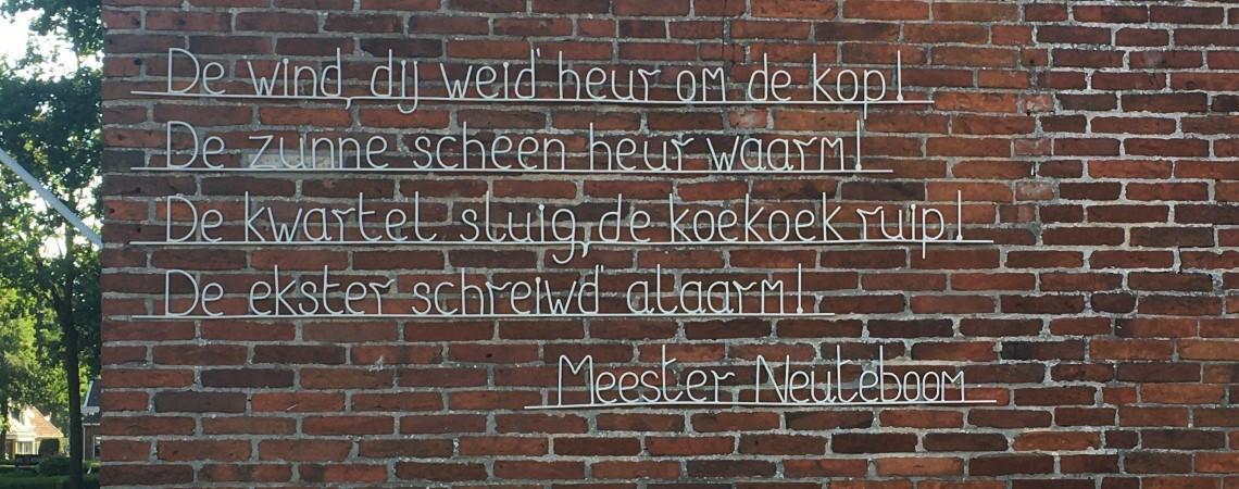Poëzie, straatpoëzie, gedicht, muurgedicht, Meester Neuteboom, Sellingen