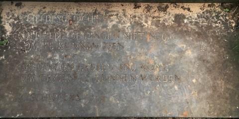 Liefdesgedicht van K. Schippers, gevonden langs de Dennenweg in Sellingen