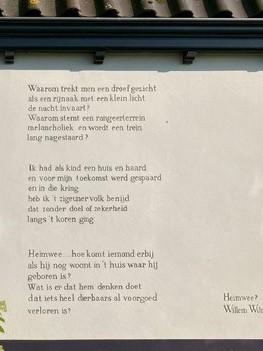 Heimwee, gedicht van Willem Wilmink, gevonden op het Jaagpad in Hazerswoude-Rijndijk