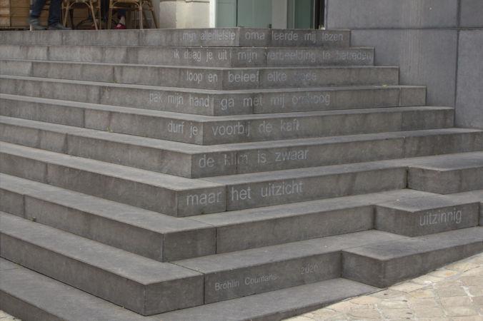 Gedicht van Brohlin Coumans, gevonden op de trap van Bibliotheek Bibliorura in de Neerstraat in Roermond