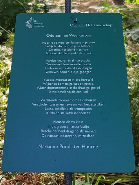 Ode aan het Weerterbos, gedicht van Marianne Poodt-ter Huurne, gevonden in de kasteeltuin in Arcen