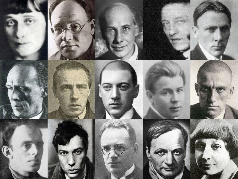 Vijftien Russische dichters die figureren in het kunstwerk Utopieverlust van Titus Nolte
