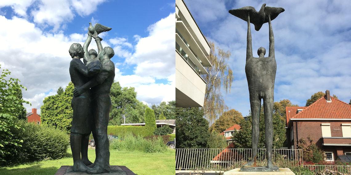 In een beeld van Stephan Berkhemer in Finsterwolde en van Gerard Bruning in Nijmegen laat iemand een vogel los. Hoewel de actie overeen komt, is de betekenis heel verschillend.