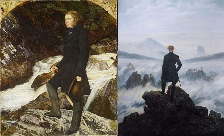 In Caspar David Friedrichs Der Wanderer über dem Nebelmeer komt de houding van de man verrassend overeen met de houding van John Ruskin dat John Everett Millais van hem schilderde.